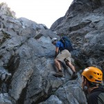 Difficult scrambling at the end of the gully